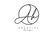 Handwriting Letters Ak A K Logo Design With Simple Circle Vector Illustration.