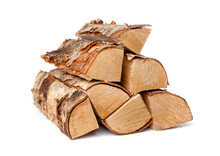Heap Of Birch Firewood Logs Isolated On White Background