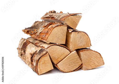Obraz heap of birch firewood logs isolated on white background - fototapety do salonu