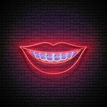 Glow Beautiful Smile With Braces And Red Lips. Orthodontic Clinic Concept Template. Neon Light Poster, Flyer, Banner, Signboard. Glossy Background. Vector 3d Illustration