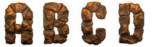 Set Of Rocky Letters A, B, C, D. Font Of Stone On White Background. 3d