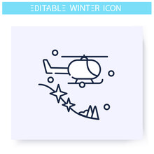 Heli Skiing Line Icon. Ski Jumping From Helicopter. Winter Holidays And Leisure Concept. Extreme Mountain Ski. Sport, Hobby. Isolated Vector Illustration. Editable Stroke