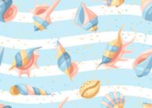 Seamless Pattern With Seashells.