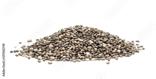 Pile of chia seeds seen from the side and isolated on white background