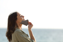 Woman Breathing Taking Off Mask Due Covid On The Beach