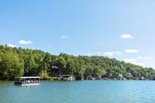 Lake Lure, North Carolina Water View Of Tour Boat, Lake And Mountain