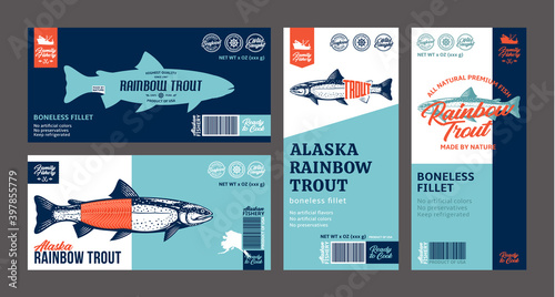 Photo Vector trout labels and packaging design concepts