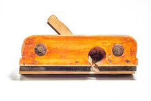 Old Vintage Wooden Jointer Veritas Plow Plane Isolated On A White Background