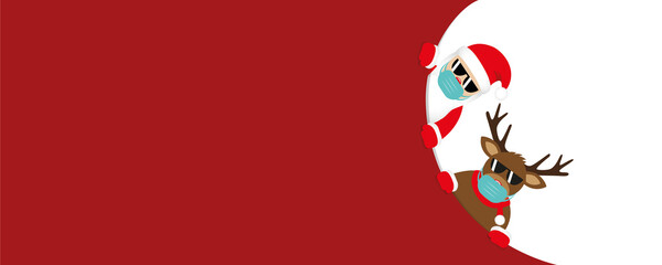 red christmas banner with cute santa claus and deer with sunglasses and face mask vector illustration EPS10