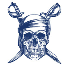 Blue Pirate Skull With Two Sabers In Vintage Style Illustration