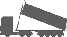 Tractor With Dump Trailer - Tractor Trailer Dump Truck - Dump - Tip-trailer (4 Axe) - Dropping Load - Tipper - Truck - Unloading - European - Monochrome - Shape - Silhouette - Icon