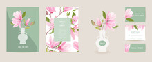 Wedding Invitation Magnolia Vector Card. Vintage Botanical Save The Date Set. Modern Design Template Of Flowers