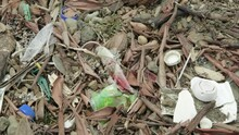 Small Plastic And Microplastic Particles On A Beach Among Rubble, Rock And Sand