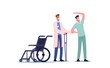 Rehabilitating Physical Activity, Orthopedic Therapy Rehabilitation. Therapist Doctor Working With Disabled Patient