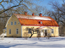 Old Traditional House With Red Roof In Scandinavian Style