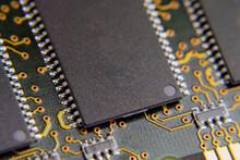 DRAM Memory Micro Chip On The Printed Circuit Board. Macro.