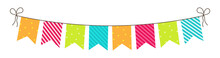 Party Bunting. Birthday Flags And Garland. Fun Decoration For Celebration. Hanging Carnival Buntings With Rope Isolated On White Background. Colorful Bright Flags For Anniversary And Surprise. Vector