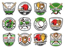 Softball Or Baseball Club Emblem With Bat And Ball, Vector, Champion Team And Sport League Patch. Baseball Or Softball Championship Cup, College And Varsity Game Tournament, Batter Glove And Helmet