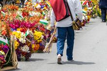 Man In Silleteros Parade. Flower Fair.  Medellin, Antioquioa, Colombia. 2019