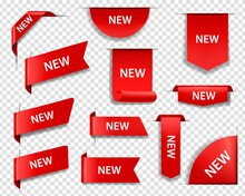 New Product Red Labels, Price Tags And Web Page Ribbon Banners Or Bookmarks 3d Realistic Vectors Set. Web Banner Corner Decoration, Shopping Sale Labels, Discount Promotion Stickers Templates