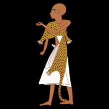 Standing Bald Ancient Egyptian Priest In Leopard Skin.