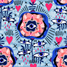 Folk Psychedelic Flash Style Rose Plant Flower With Hearts And Many Eyes Multicolor Seamless Pattern.