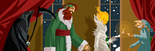 Three Ghosts And Old Man In Christmas Carol Tale