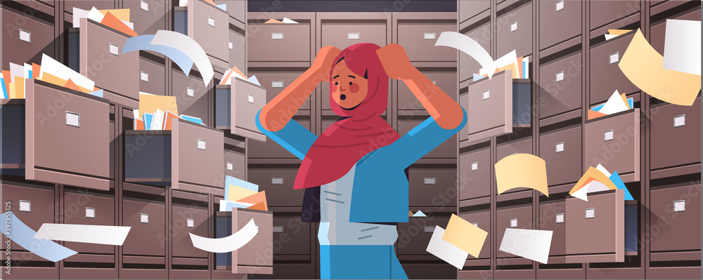 Fototapeta overworked arab businesswoman searching documents in filing wall cabinet with open drawers data archive storage business administration paper work concept horizontal portrait vector illustration