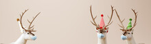 Reindeer Wearing  Mask On Cream Color Background. Virus Protection. New Year. Christmas Concept. 3d Rendering