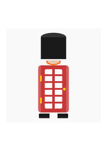 Editable Combination Of Front View Typical English Royal Guard And Telephone Booth As Iconic Vector Illustration In Flat Style For England Culture Tradition And History Related Design