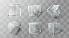 Plastic Or Glass Cube In Different Angle View, Clear Square Box, Crystal Block, Aquarium Or Exhibit Podium, Glossy Geometric Object Isolated On Transparent Background, Realistic 3d Vector Illustration