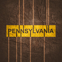 Image Relative To USA Travel. Pennsylvania State Name In Geometry Style Design. Creative Vintage Typography Poster Concept.