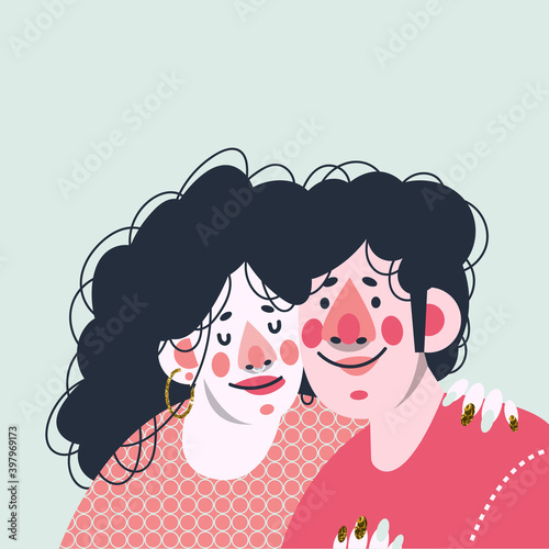 Fototapeta The loving couple together. Date of lovers. Cute print, greeting card for valentine's day. Vector illustration. obraz na płótnie