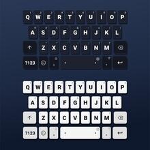 Set Of Keyboard Of Smartphone. Dark And Light Edition. Alphabet Buttons. Mobile Phone Keypad. Illustration Vector