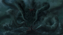 Warrior Standing Looking  Cthulhu,Cosmic Monster, Sea Monster,strom Bad Weather ,digital Art, Illustration Painting.