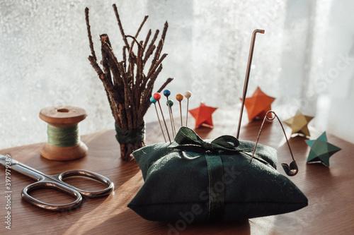 Fototapeta still life with sewing equipment obraz