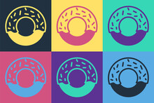 Pop Art Donut With Sweet Glaze Icon Isolated On Color Background. Vector.
