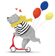 Cute Funny Bear Vector Illustration, T Shirt Prints, Cartoon Designs For Children, Greeting Cards And Poster Prints.