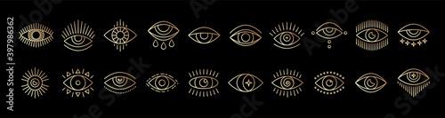 Canvas Print Line art icon set of evil seeing eye