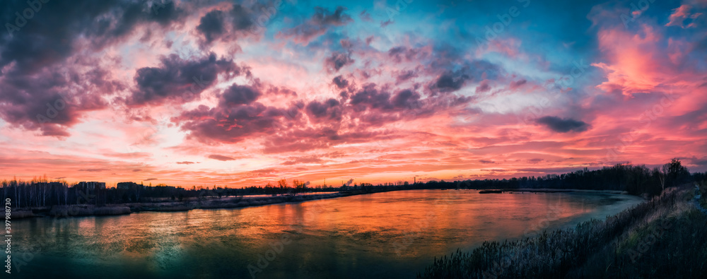 Dawn by frosty morning - Panorama over a postindustrial landscape