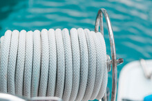 Harbour Lines In Coul, Light Grey Nautical Ropes On Sea Water  Background
