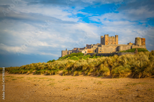 Bamburgh Castle on the beach of Northumberland,  United Kingdom Poster Mural XXL