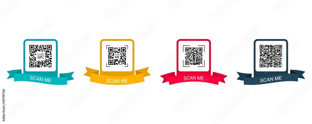 Fototapeta Collection creative concept qr code. Scan me. Colored frame with ribbon for qr code. Vector