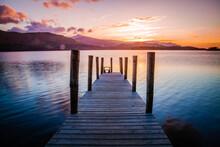A Jetty At Derwentwater,  Lake District,  Cumbria,  United Kingdom