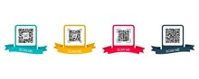 Collection Creative Concept Qr Code. Scan Me. Colored Frame With Ribbon For Qr Code. Vector