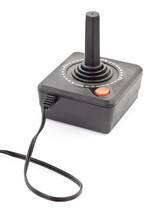 Retro Joystick With One Orange Button. Studio Photo Isolated On White Background.