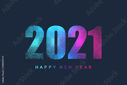 Fototapeta Futuristic technology template text design Christmas and Happy new year 2021. Graphic background communication 2021. Design element for presentations, postcard, flyer, leaflet and poster, vector. obraz