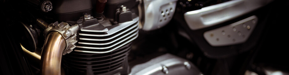 close up of motorcycle engine using as transportation cover page
