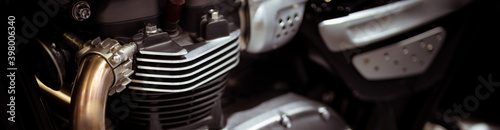 Obraz close up of motorcycle engine using as transportation cover page  - fototapety do salonu