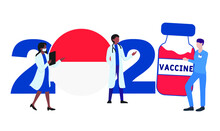 2021 Year. Covid-19 Vaccine With Indonesia Flag And Doctors On White Background. Indonesia Card On The Theme Of Fighting The COVID-19 Epidemic With The Hope Of Receiving A Vaccine By 2021